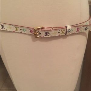 LOUIS VUITTON MONOGRAM WHITE BELT 95/36.